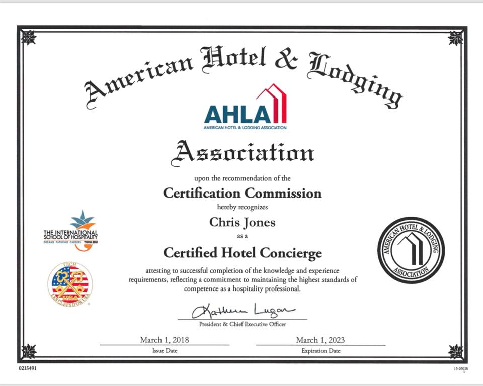 Chc Certified Hotel Concierge Chc